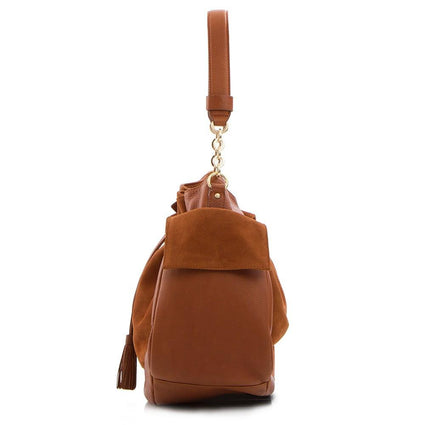 Soho Suede/Leather Large Drawstring Bag - Taupe