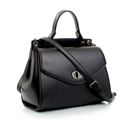 Hint of Brit Flapover Satchel w. Turnlock Closure - Black