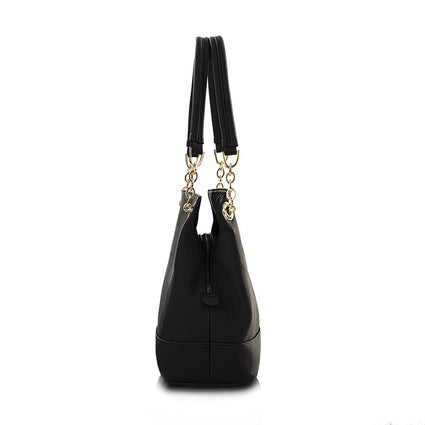 La Mode Shoulder Bag with Partial Chain Handle - Black