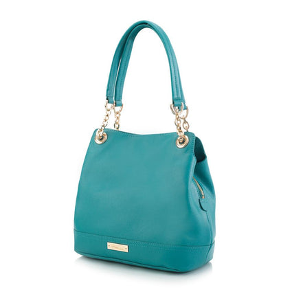 Maui Bay Shoulder Bag w. Partial Chain Handle - Turquoise