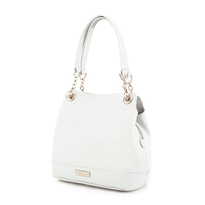 Maui Bay Shoulder Bag w. Partial Chain Handle - White