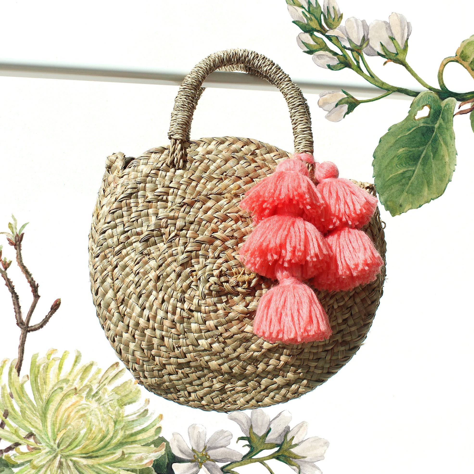 Petite Luna Bag - Round Straw Tote Bag with Pink