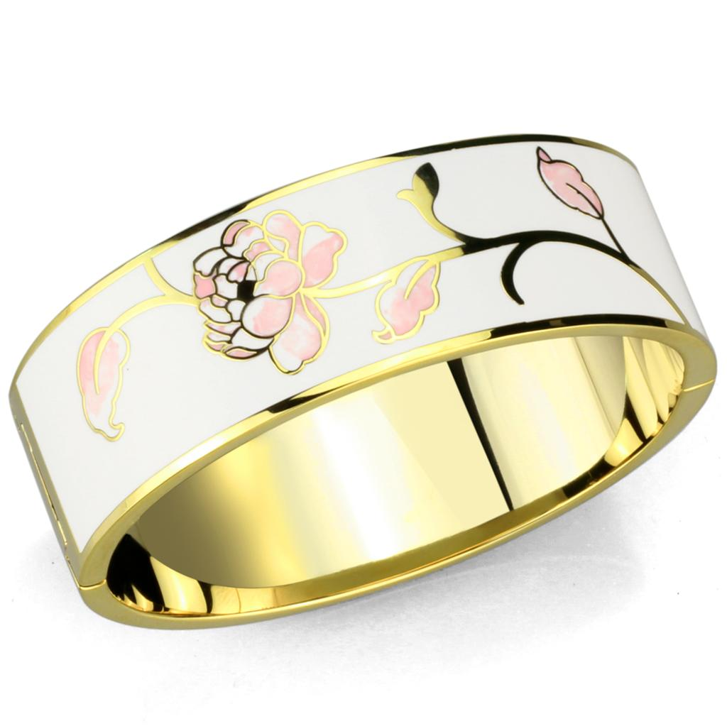 3W1017 Gold White Metal Bangle with Epoxy in White