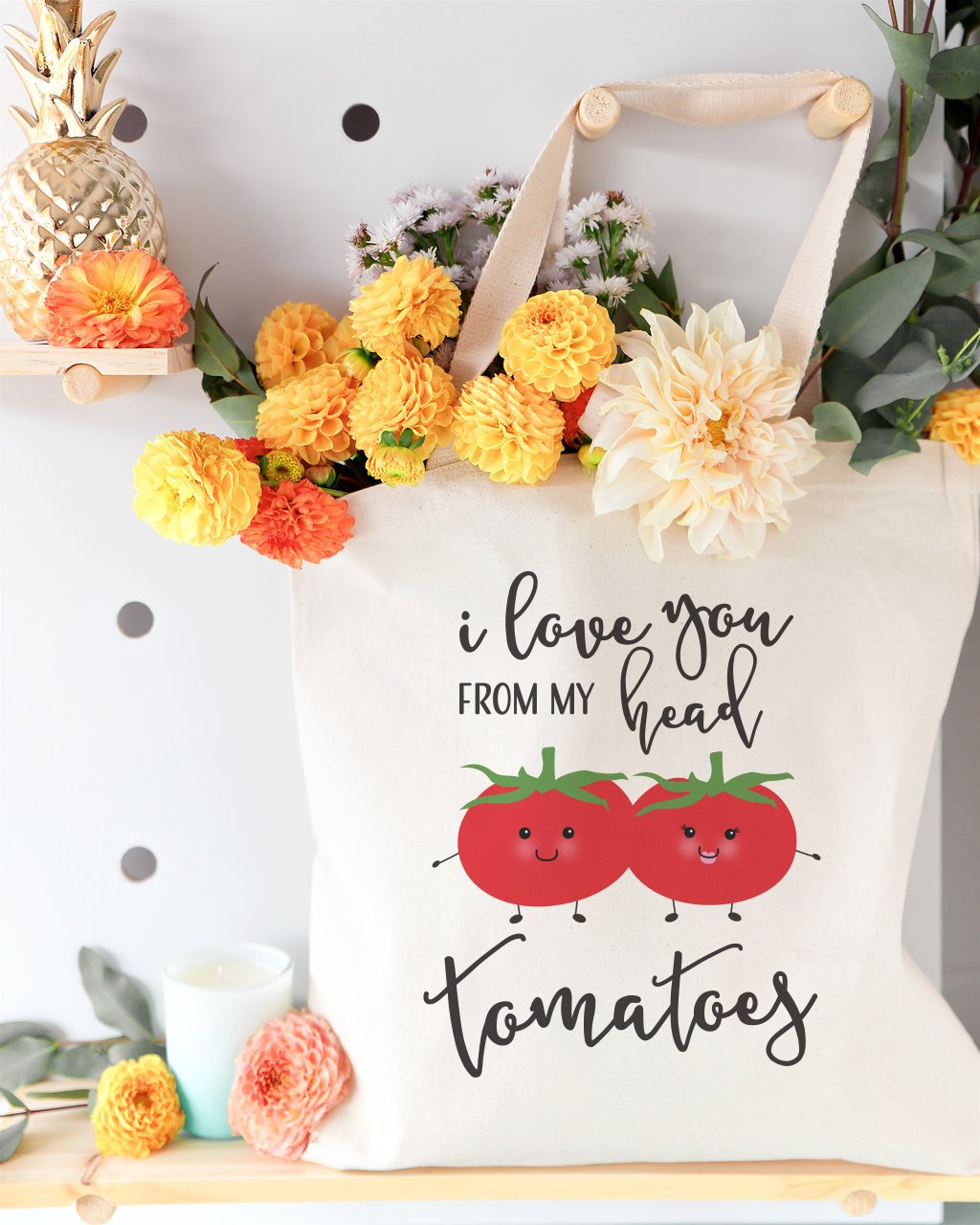 I Love You From My Head Tomatoes Cotton Canvas Tote Bag
