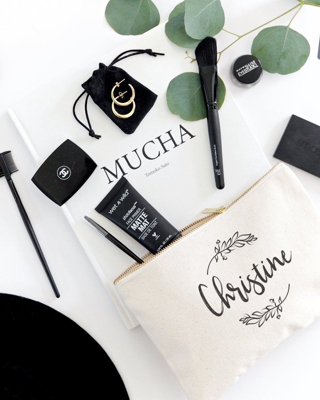 Personalized Name with Vine Cosmetic Bag and Travel Make Up Pouch