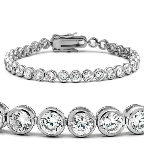 47201 Rhodium Brass Bracelet with AAA Grade CZ in