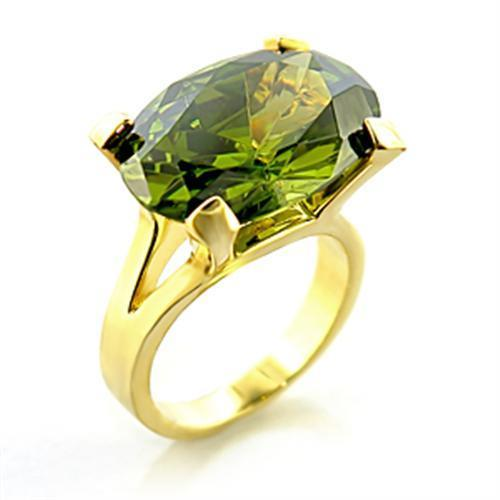 8X101 Gold Brass Ring with AAA Grade CZ in Olivine