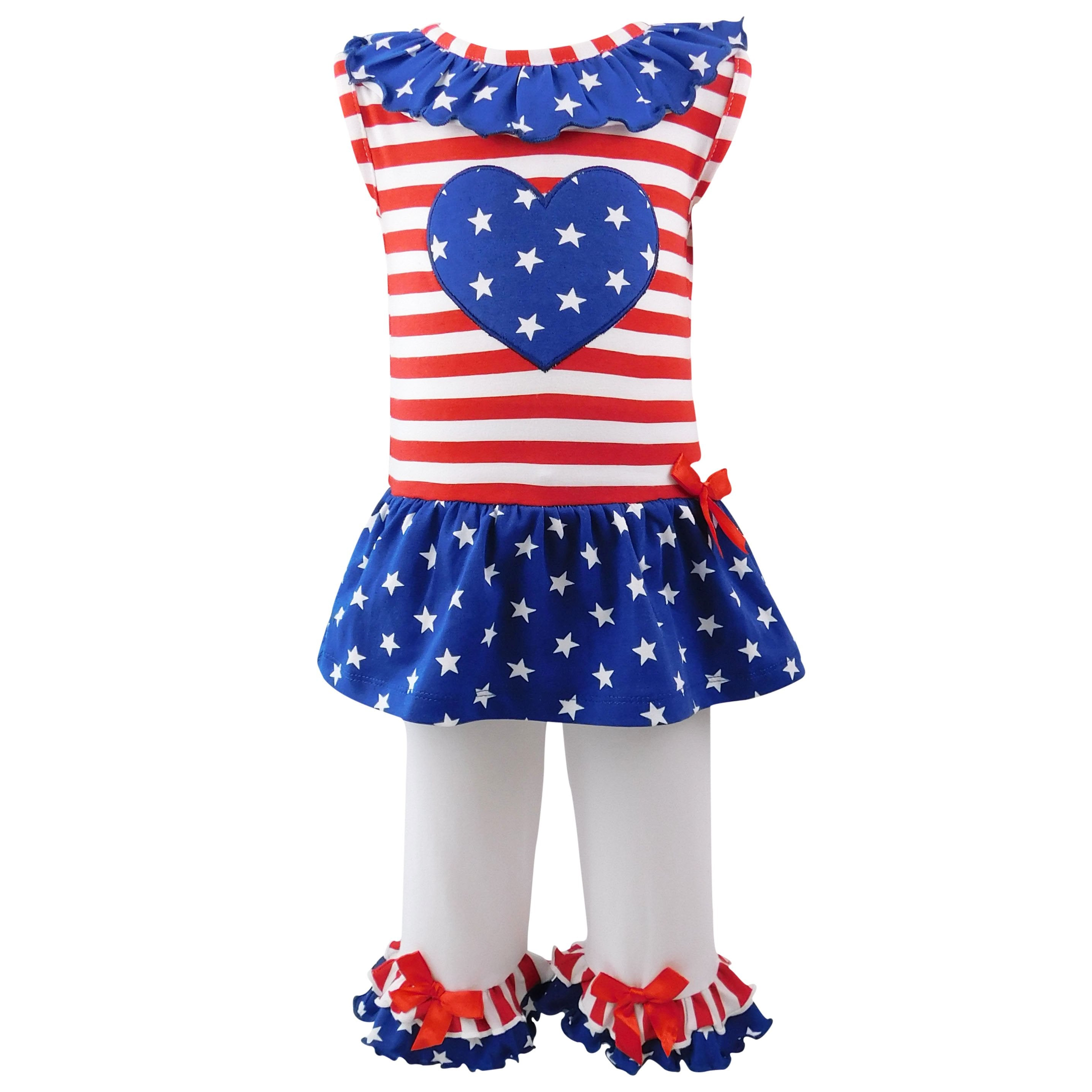Big Little Girls' 4th of July Star Heart
