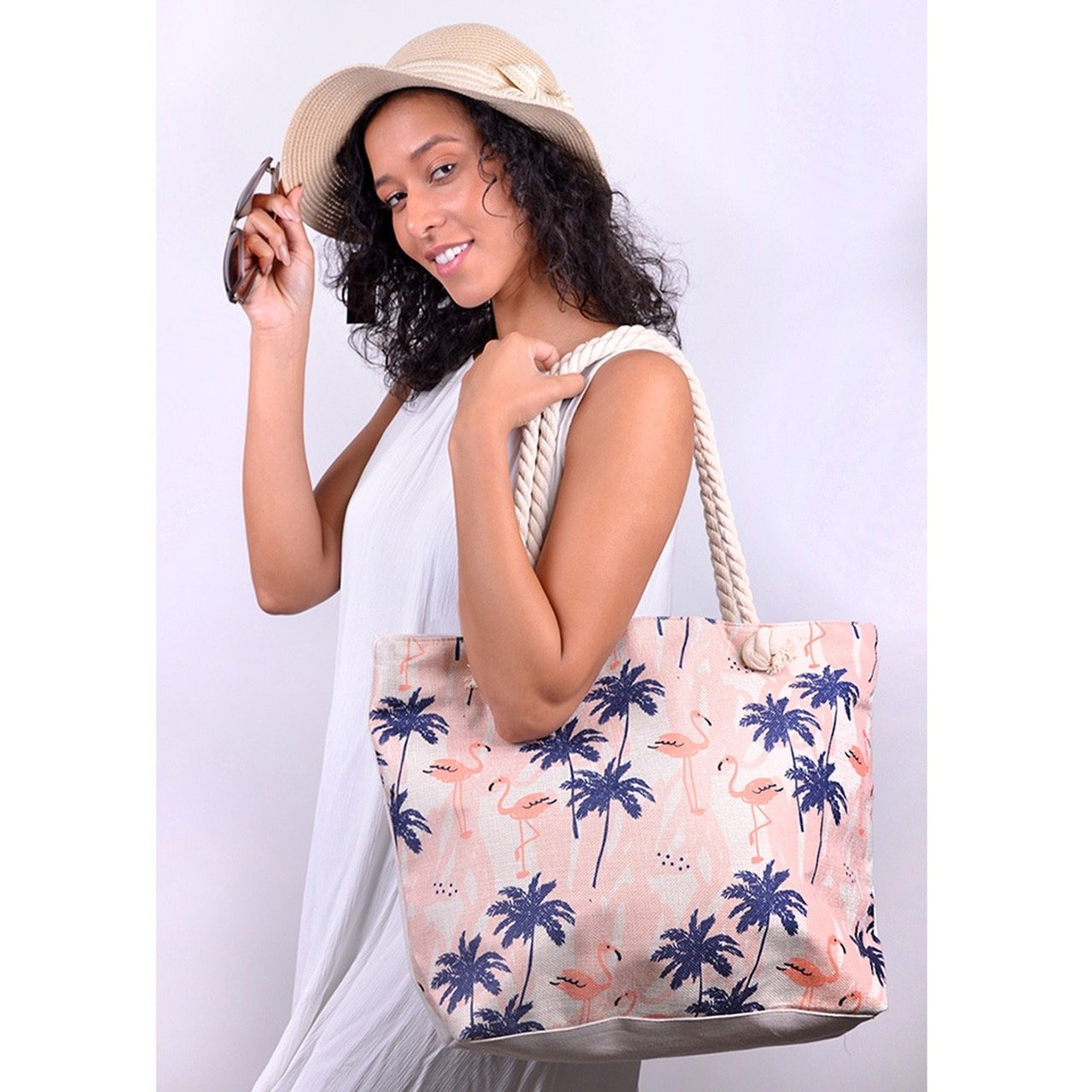 Palm Tree & Flamingo Tote Bag