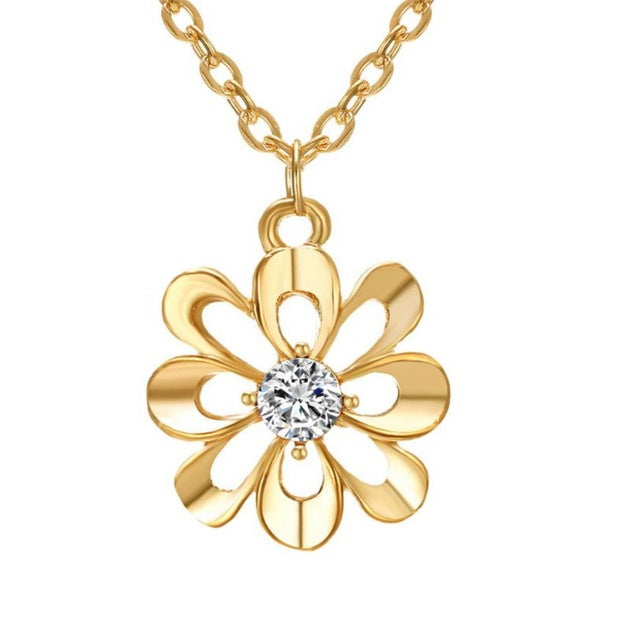 Beautiful Flower Pendant Necklace Ear Studs Aneis