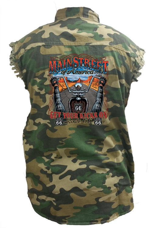 Men's Camo Sleeveless Denim Shirt Main Street Of