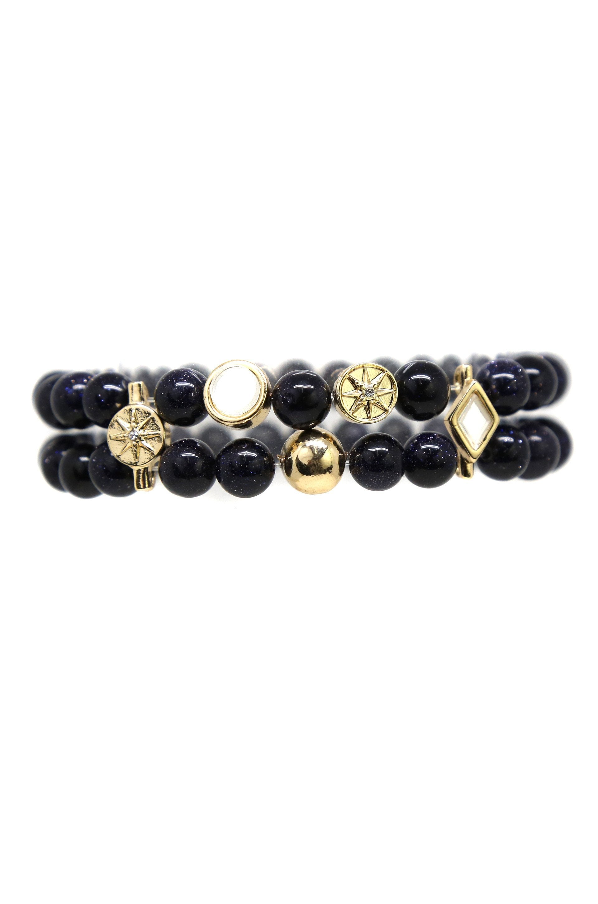 Better Together 18k Gold Plated Bracelet in Blue Goldstone