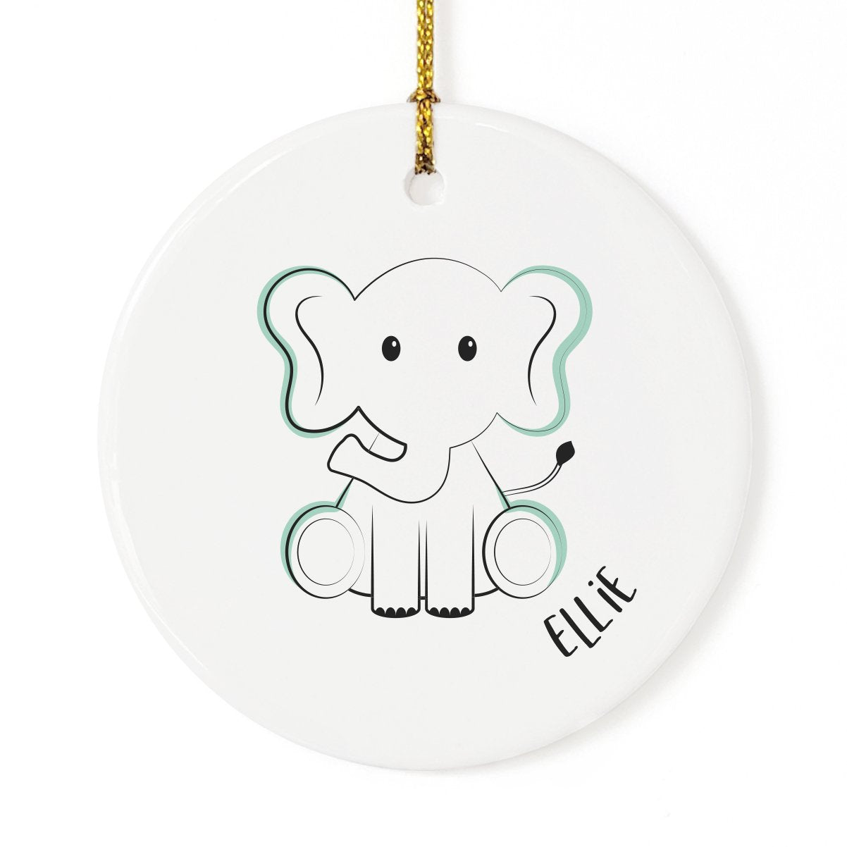 Personalized Name Elephant Christmas Ornament