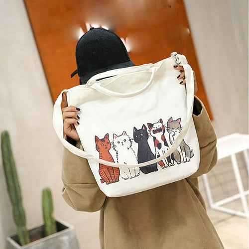 Fashion handbag women Cartoon Cats Printed Beach