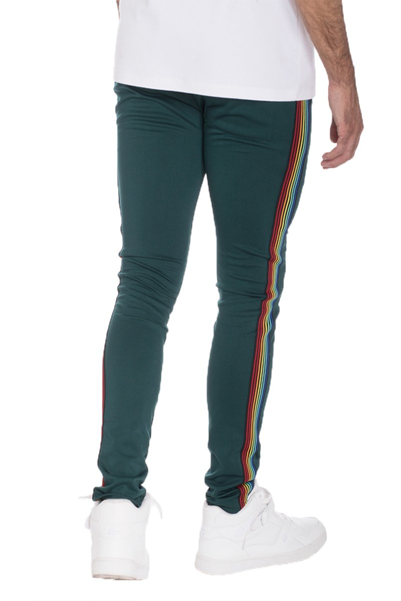 RAINBOW TAPED TRACK PANTS- HUNTER GREEN
