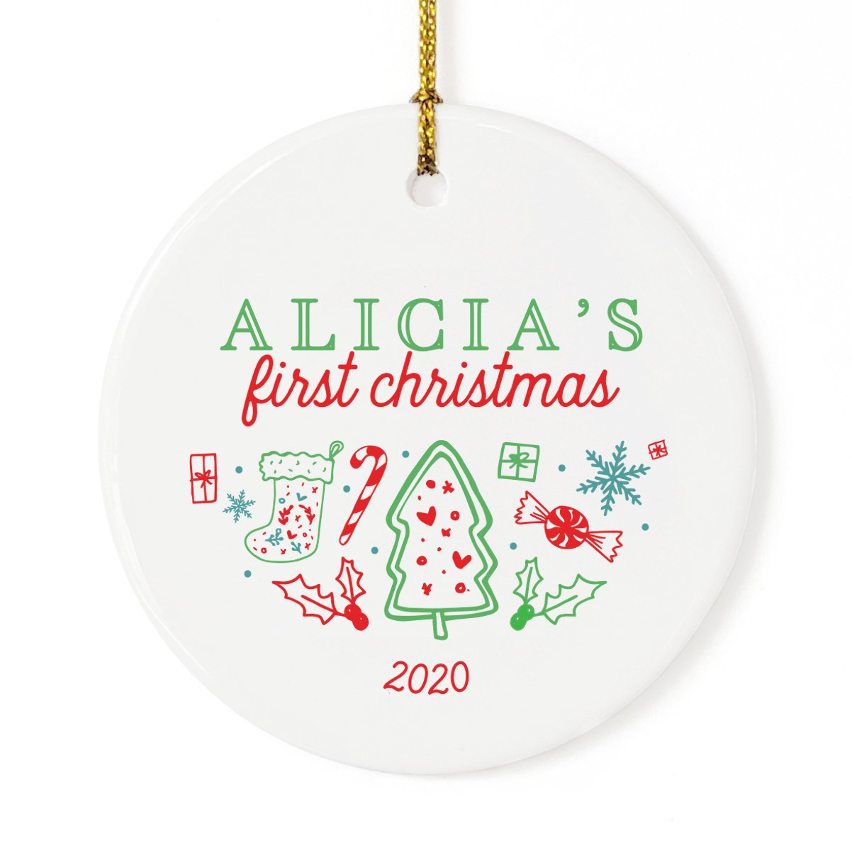 Classic Personalized Name First Christmas Ornament