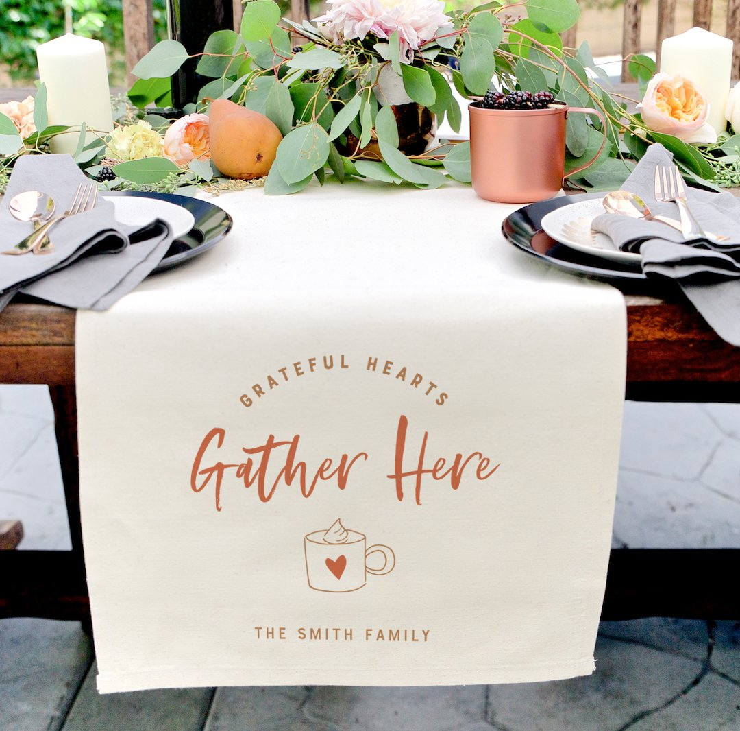 Personalized Family Last Name Grateful Hearts Gather Here Canvas Table