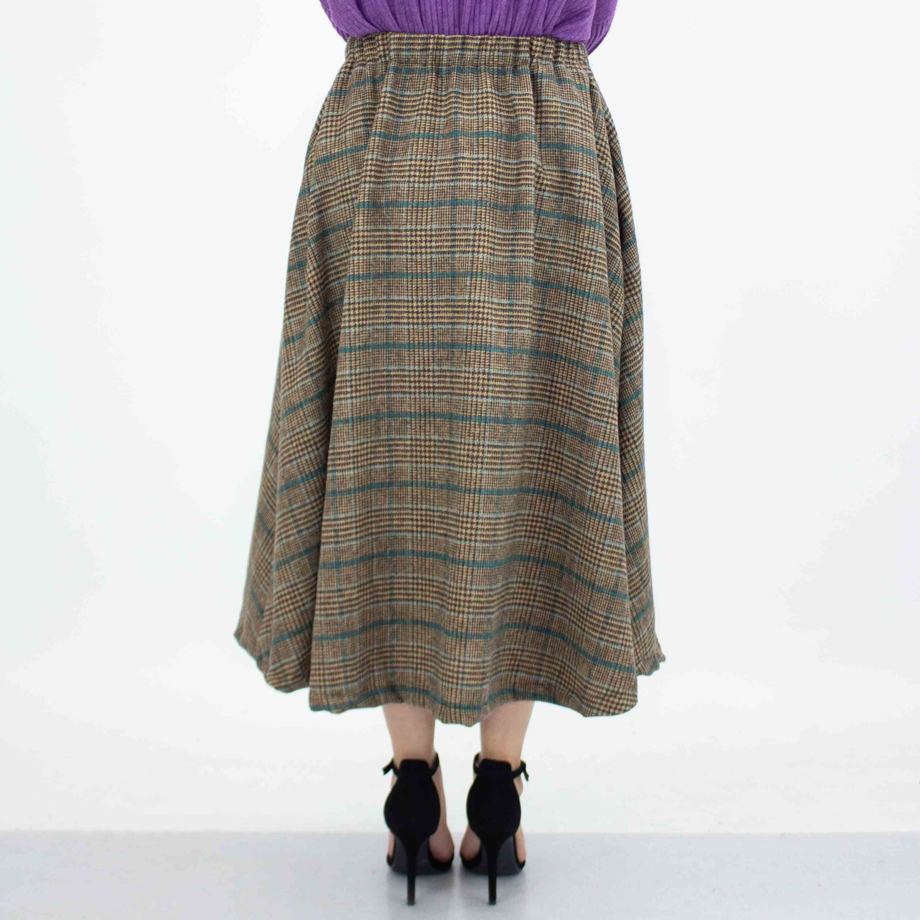 Plaid Flare Midi Skirt with Side Pockets - Blue