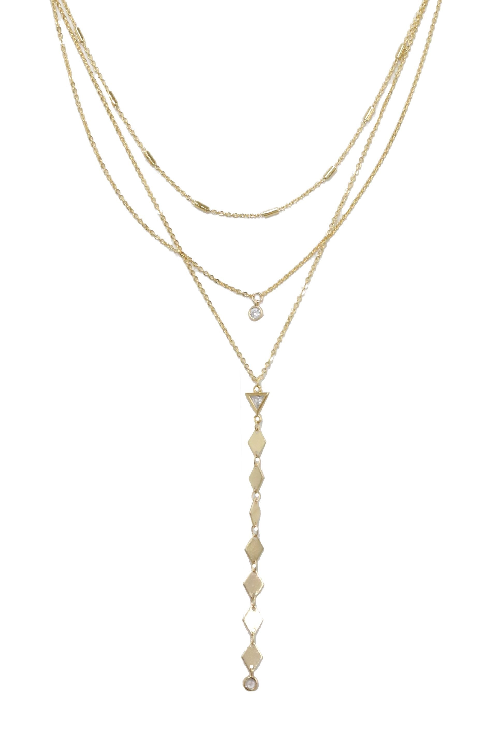 Bella 18k Gold Plated Multi Layered Lariat Necklace with Crystals