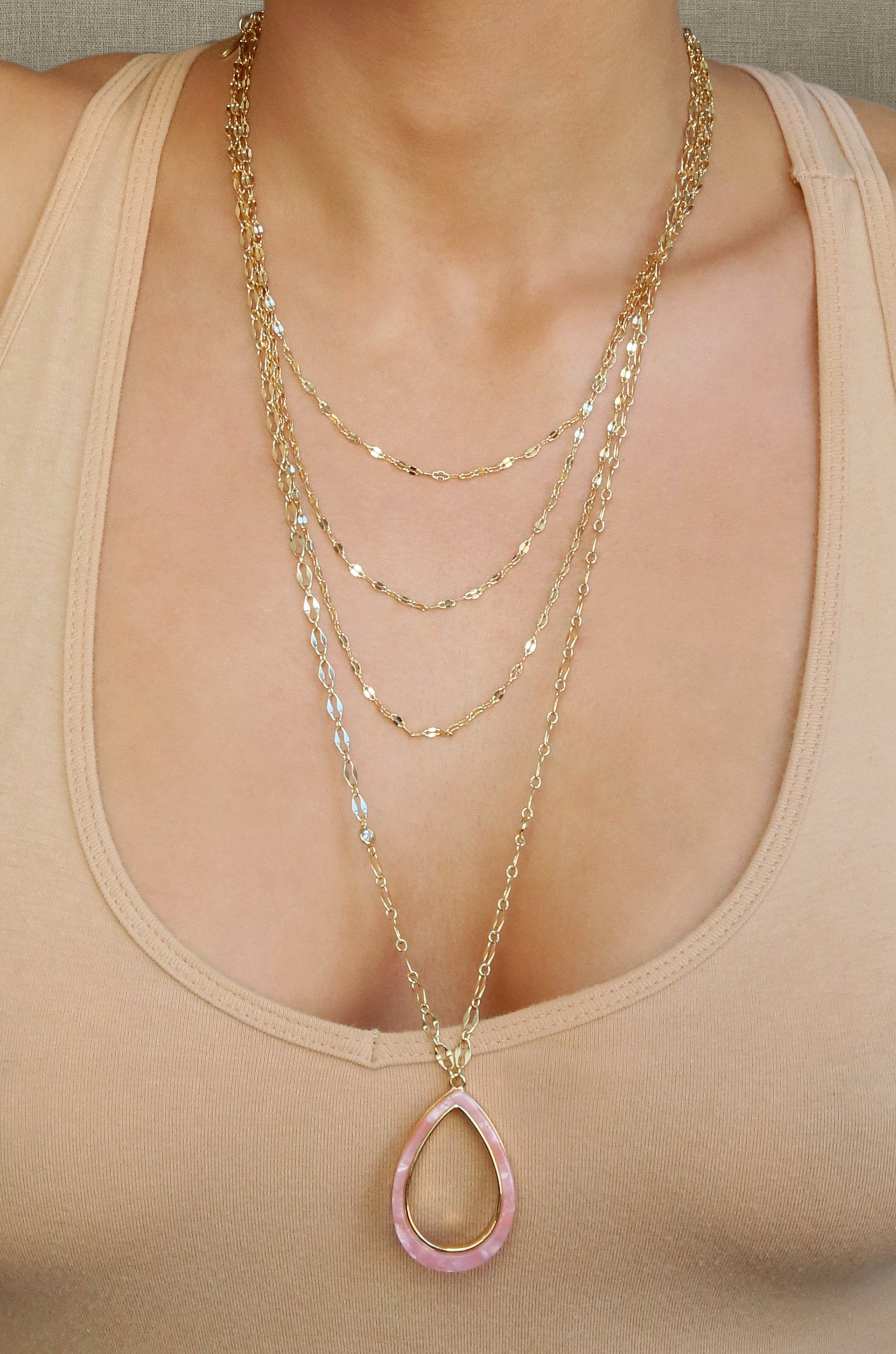 Simply Chic Teardrop Pink Resin and 18k Gold Plated Layered Necklace