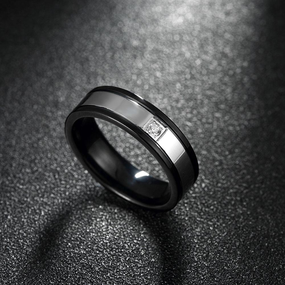 Father's Day Gift Simple White Crystal Black Stainless Steel Ring