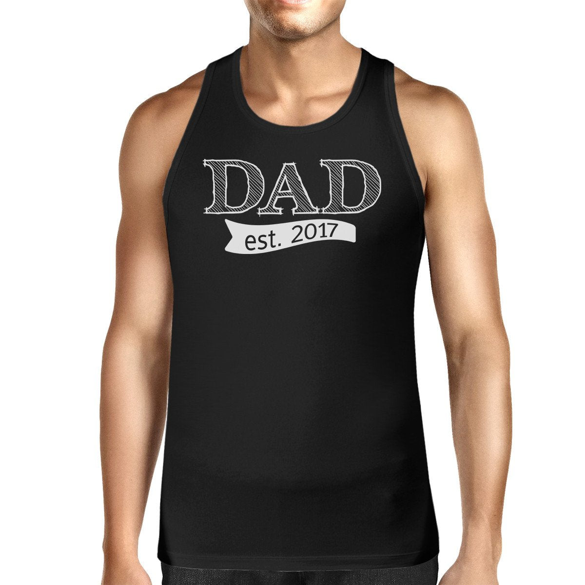 Dad Est 2017 Mens Black Unique Graphic Tank Top