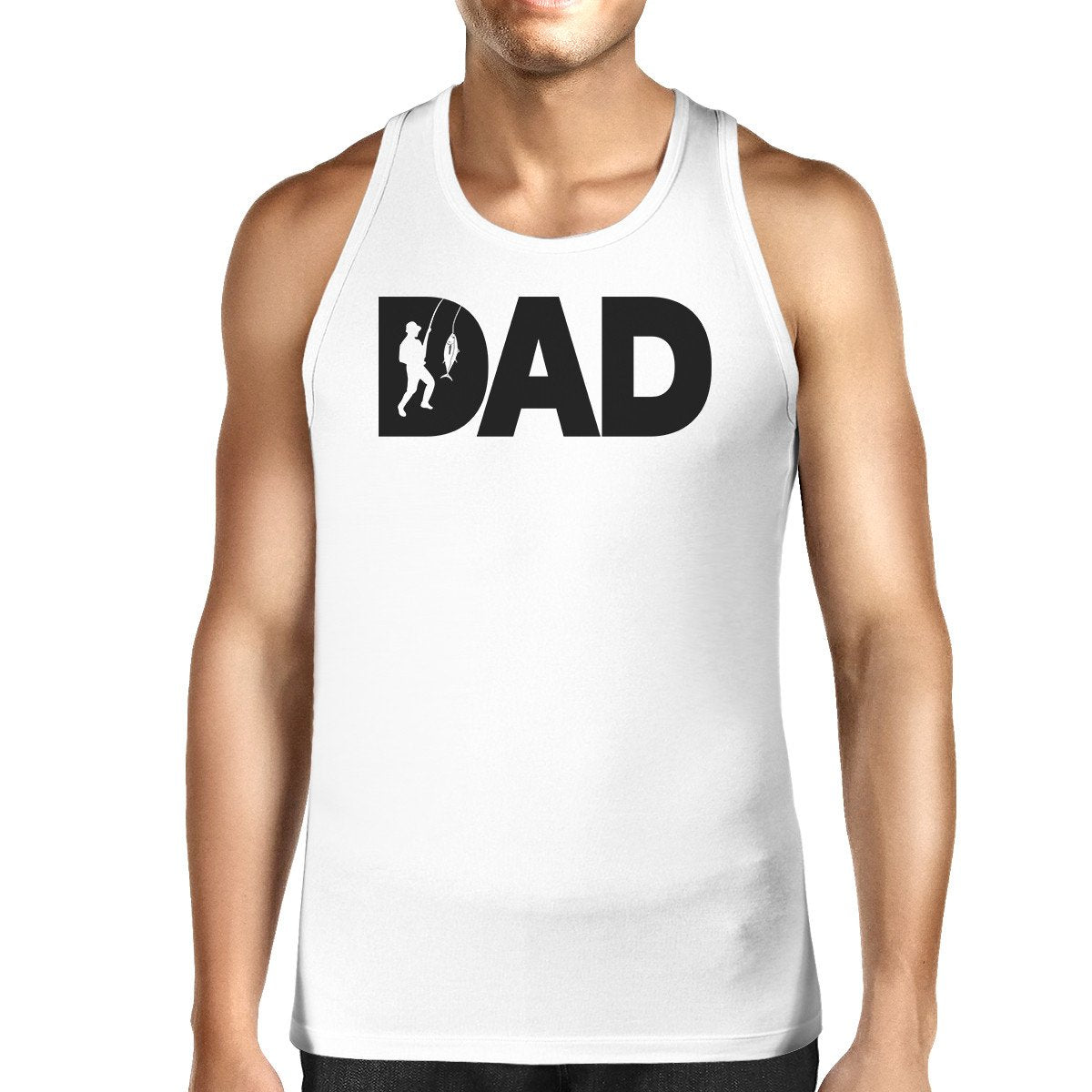 Dad Fish Mens White Graphic Tanks Unique Dad Gifts