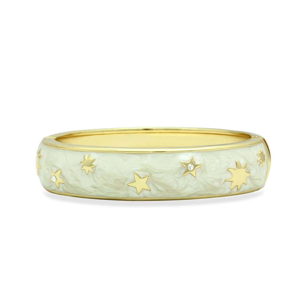LO2146 Flash Gold White Metal Bangle with Top
