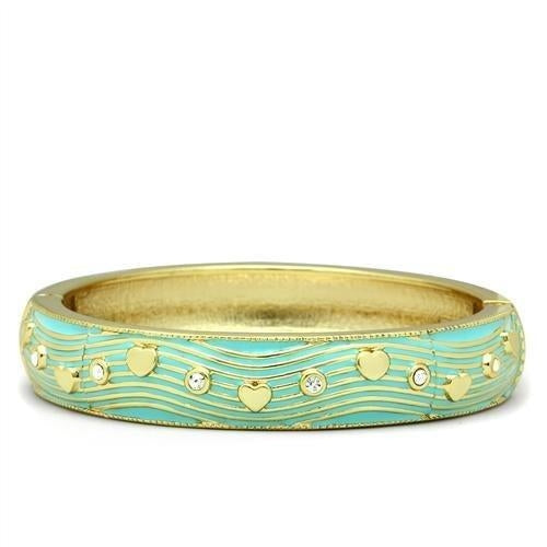 LO2151 Flash Gold White Metal Bangle with Top
