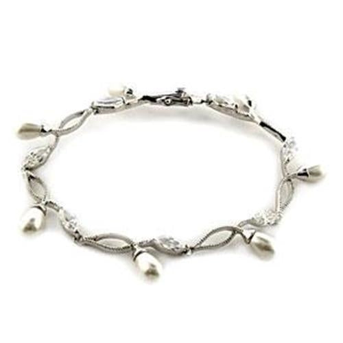 LOA542 Rhodium 925 Sterling Silver Bracelet with