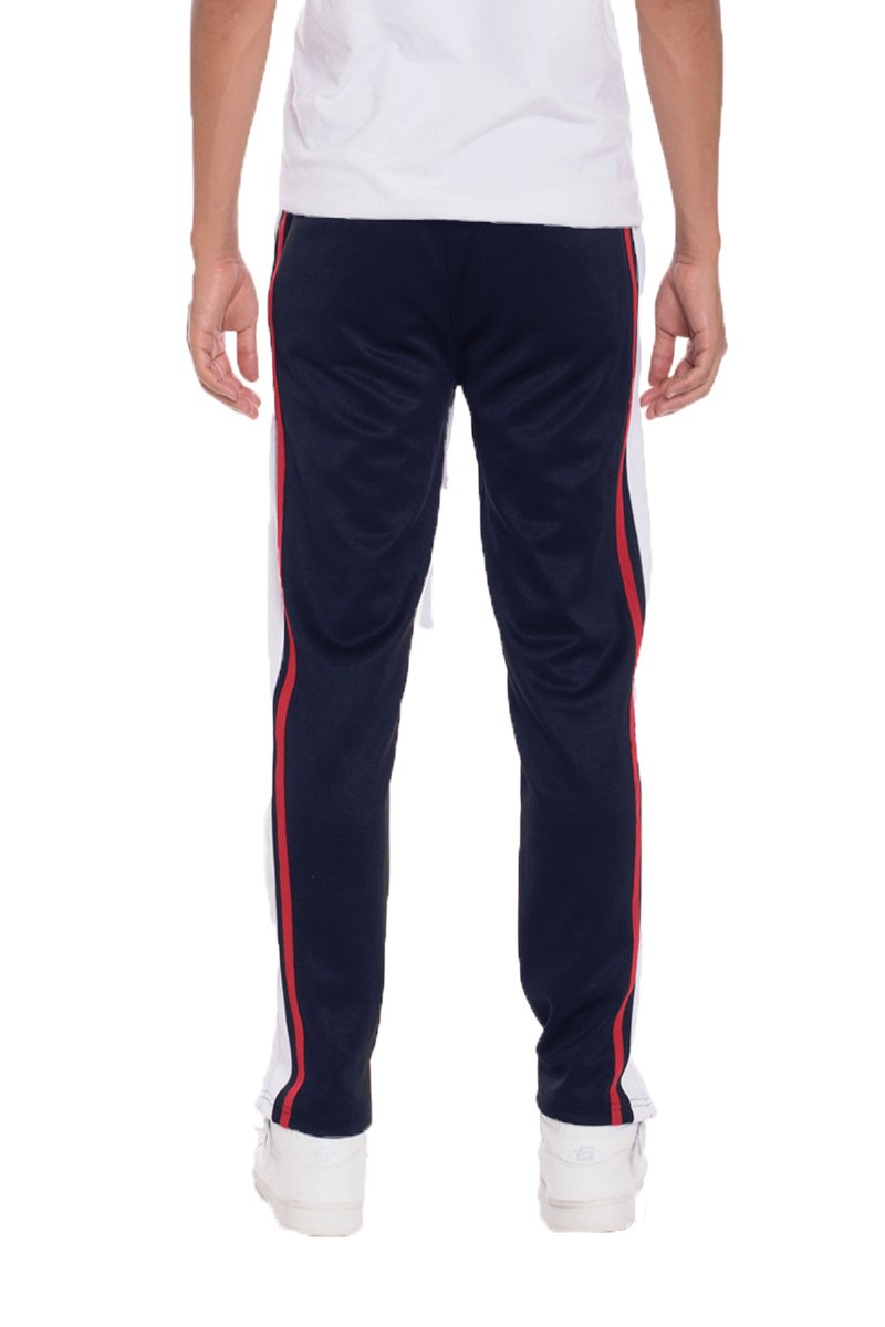 TRICOT STRIPED TRACK PANTS- NAVY