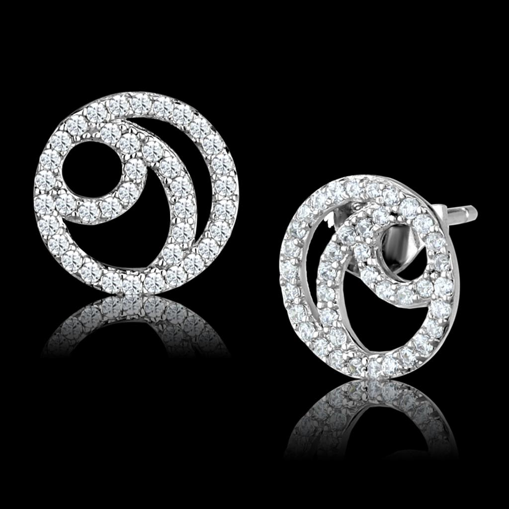 TS511 Rhodium 925 Sterling Silver Earrings with