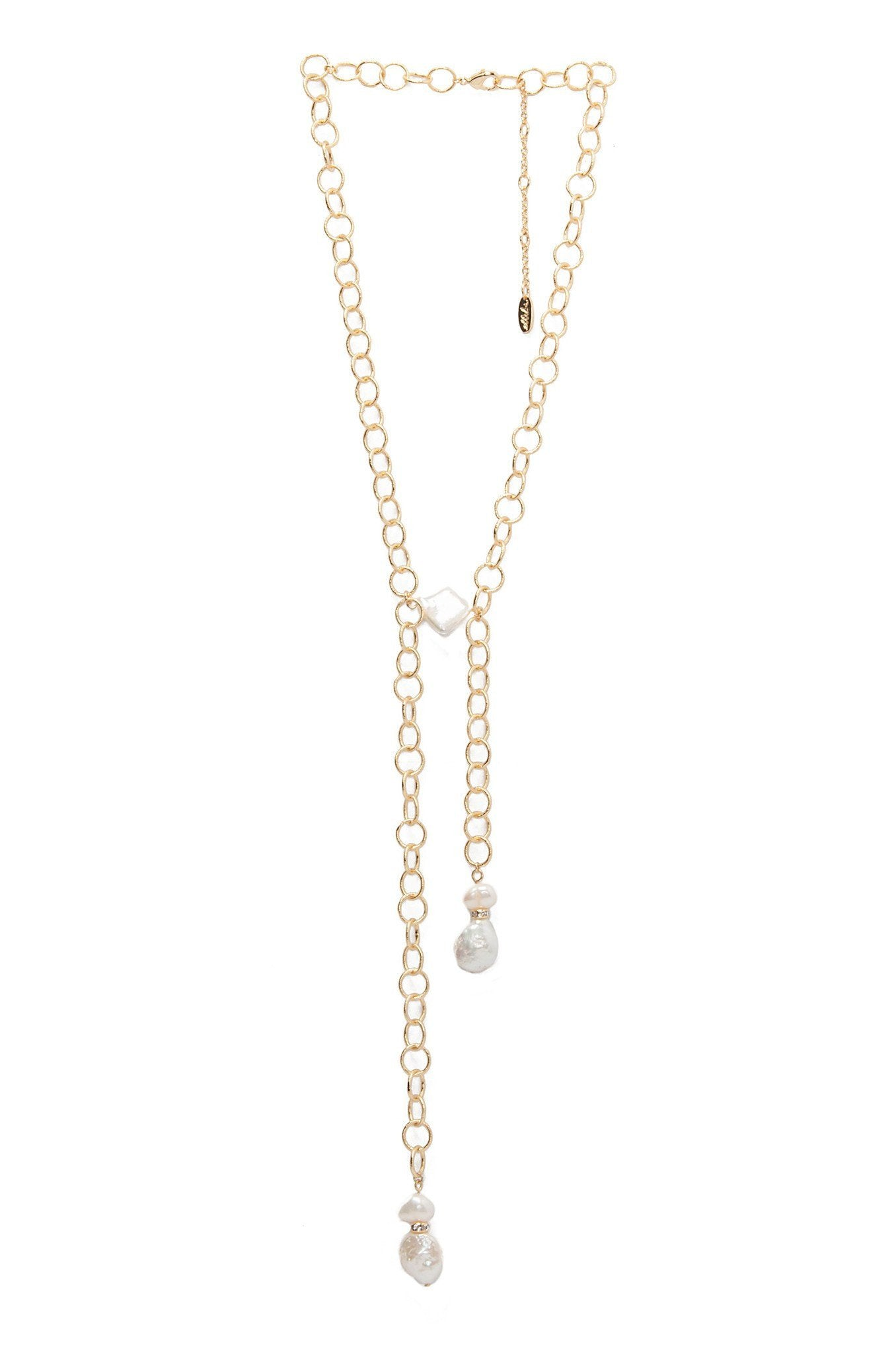Aura Of Azure 18k Gold Plated Necklace in Pearl