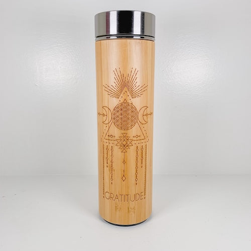 Bamboo Water Bottle - GRATITUDE