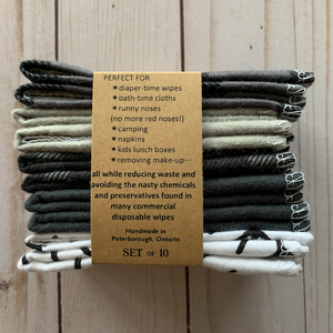 Reusable Cloth Wipes 10 Pack - Monochrome