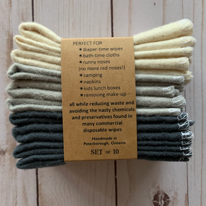 Reusable Cloth Wipes 10 Pack - Warm