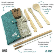 Load image into Gallery viewer, Reusable Bamboo Cutlery Set w/ Natural Hessian Travel Pouch
