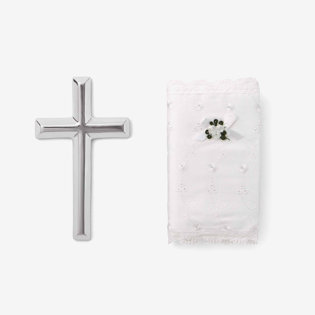 Eyelet Covered Bible & Cross Christening Gift Set