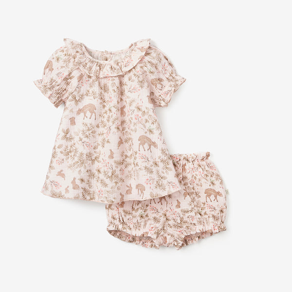 Woodland Print Organic Muslin Collared Dress & Bloomer Set