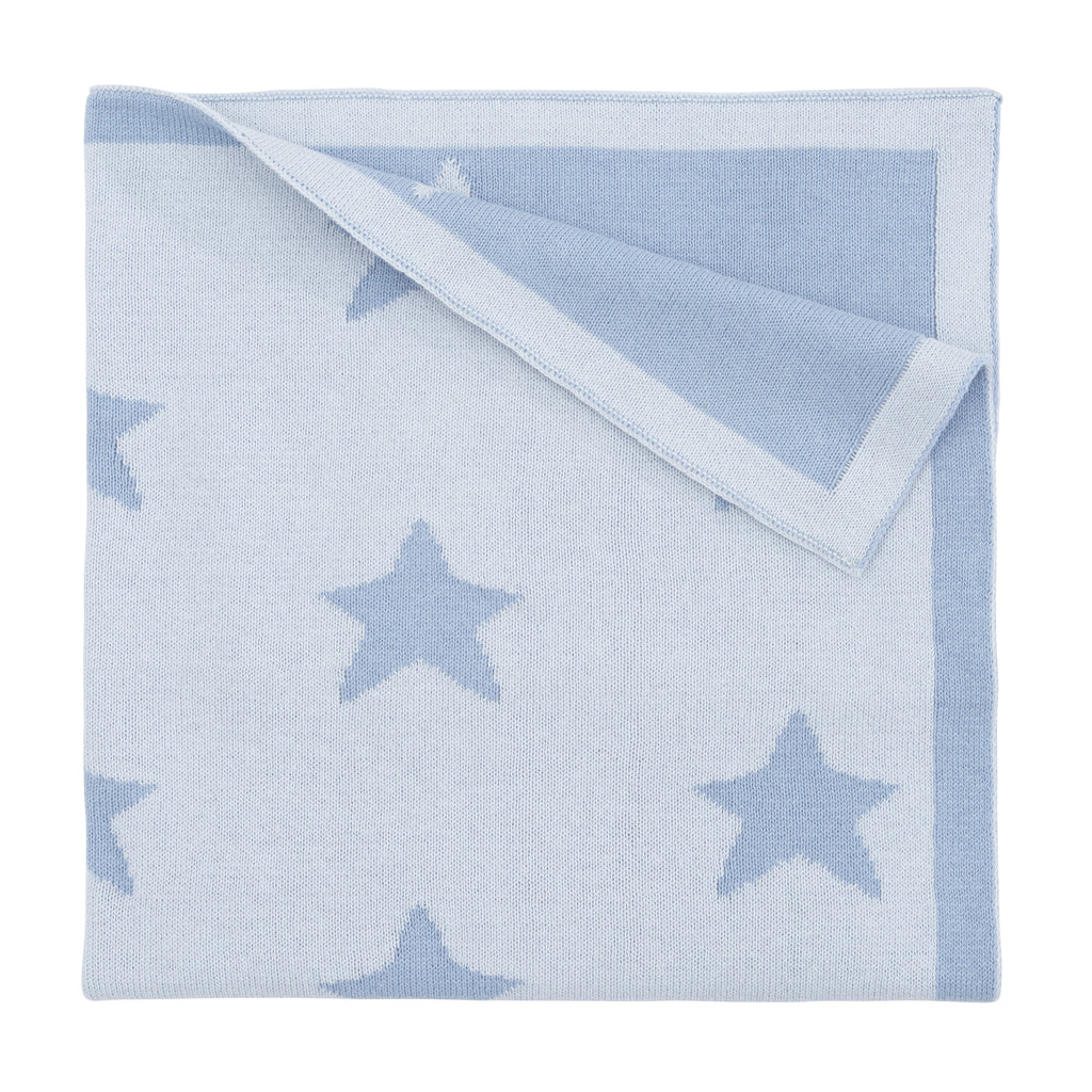 Reversible Blue Star Cotton Baby Blanket