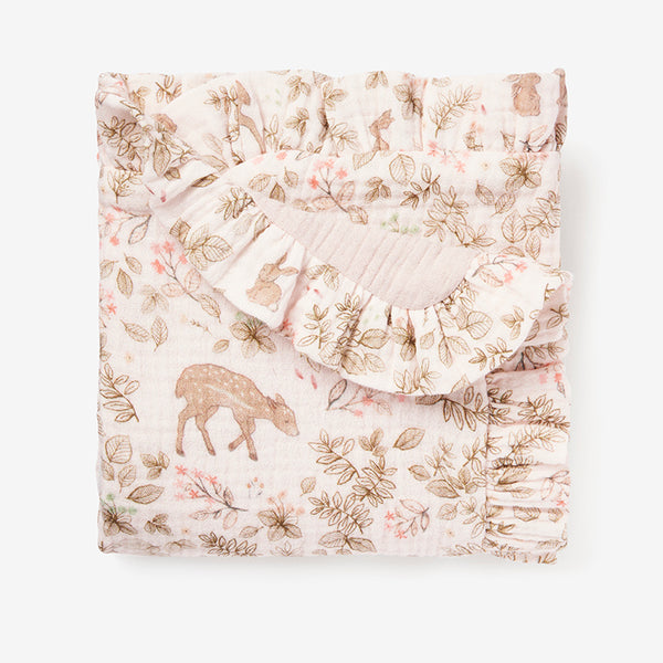 Woodland Print Organic Muslin Baby Security Blanket