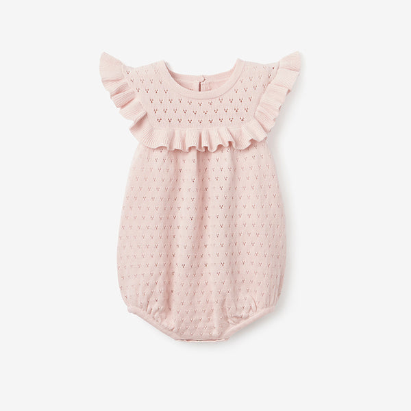 Blush Pointelle Knit Baby Bubble Romper