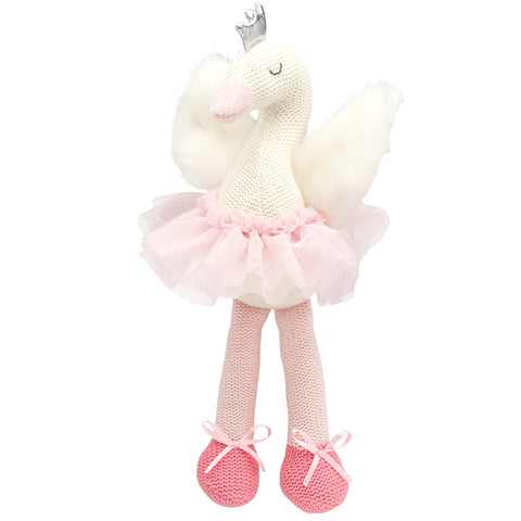 "10"" Swan Baby Knit Doll"