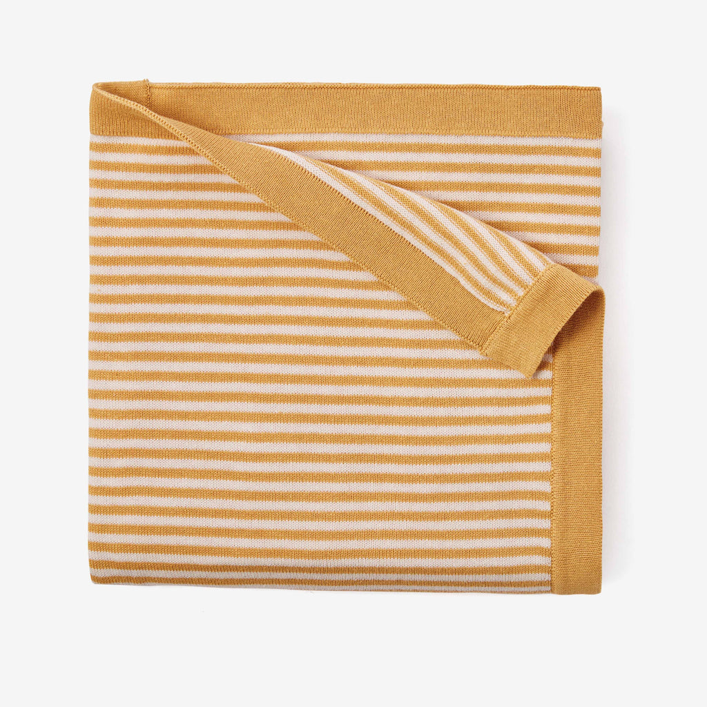 Mustard Stripe Cotton Knit Baby Blanket