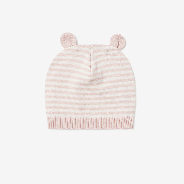 Blush Mini Stripe Baby Hat w/ Ears