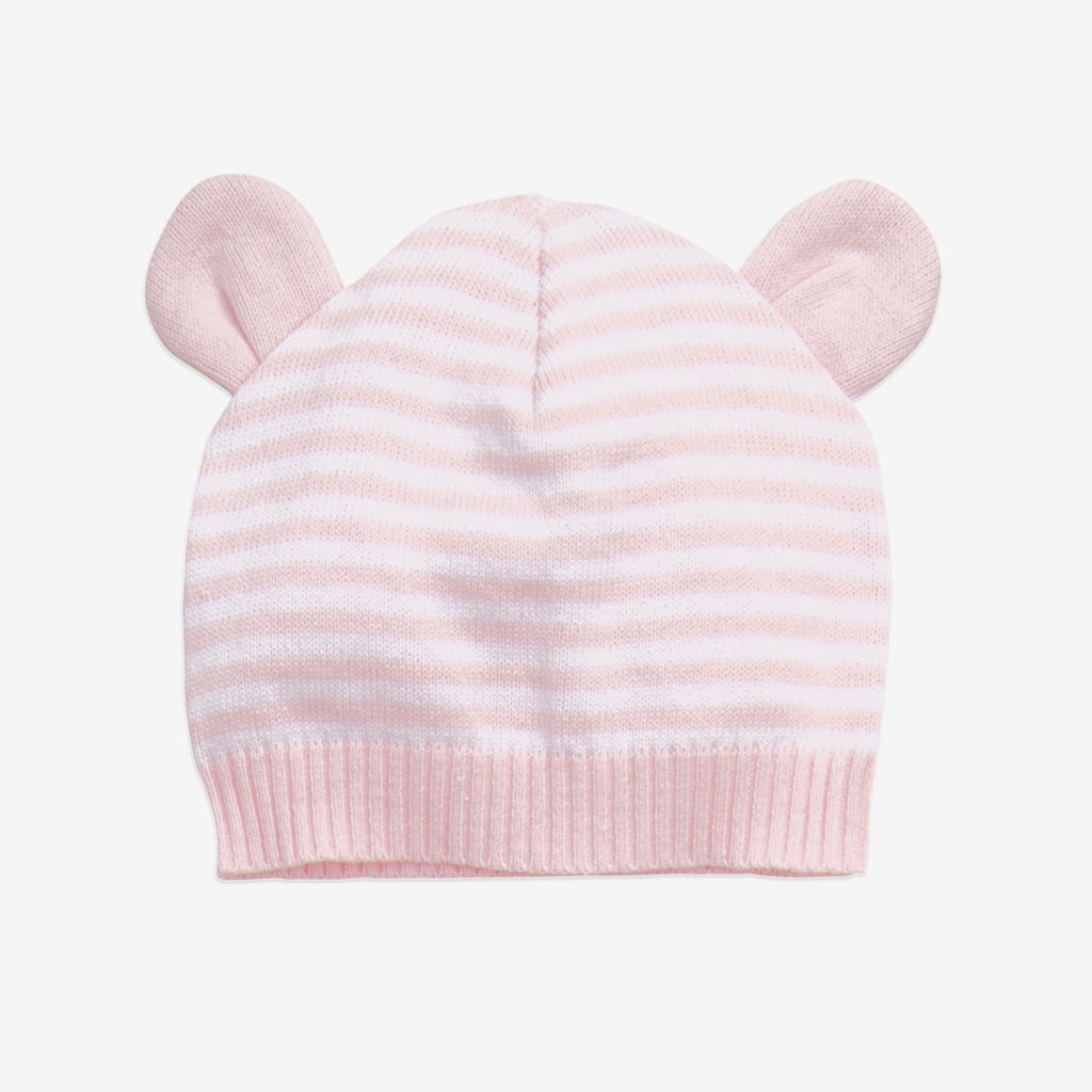 Pink Stripe Knit Baby Hat with Ears