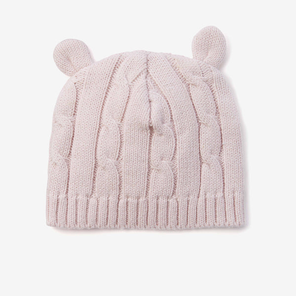 Chalk Pink Cable Knit Baby Hat with Ears
