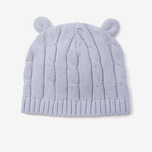 Blue Cable Knit Baby Hat with Ears