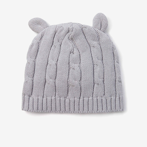 Gray Cable Knit Baby Hat with Ears