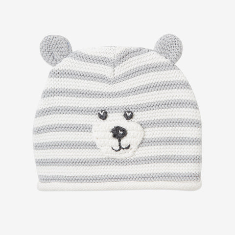 Gray Stripe Bear Baby Hat with Ears